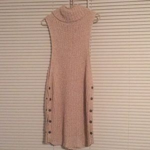 New Free People Pink/ White Woven Long Sweater